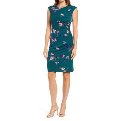 エリザジェイ レディース ワンピース トップス Floral Cap Sleeve Stretch Jersey Sheath Dress GREEN