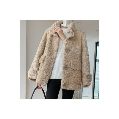 ウール ショートコート ジャケット プードルファー ボタン ハイネック 無地 シンプル 可愛い 大人カジュアル あたたか 防寒