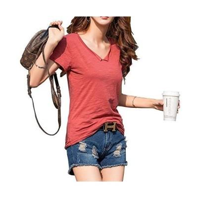 T シャツ 半袖 シンプル 無地 半袖tシャツ トップス カットソー レディース 綿 4色 (レッド XL)