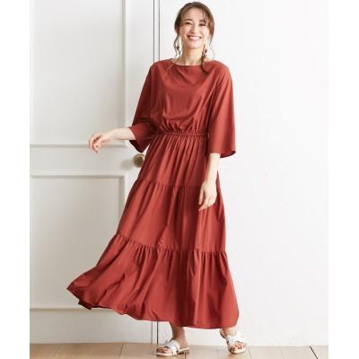 大きいサイズ 7分袖ティアードロングワンピース ,スマイルランド, ワンピース, plus size dress