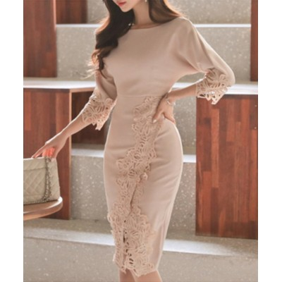 【アイモハ】 ボートネックレースタイトワンピース 韓国ファッション レディース ピンク M aimoha