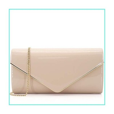 【新品】Dexmay Patent Leather Envelope Clutch Purse Shiny Candy Foldover Clutch Evening Bag for Women Nude(並行輸入品)