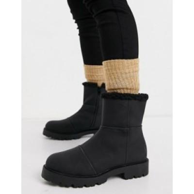 エイソス レディース ブーツ・レインブーツ シューズ ASOS DESIGN Arlo pull on boots with borg lining in black Black