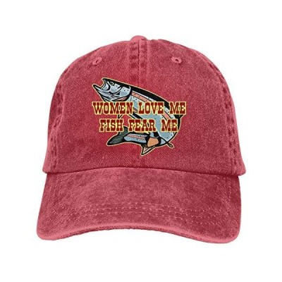 Women Love Me Fish Fear Me Unisex Baseball Cap Cowboy Trucker Caps Vintage Adjustable Golf Dad Hat Red