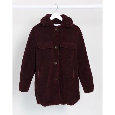 ミスガイデッド レディース コート アウター Missguided longline Sherpa trucker coat in dark red Red
