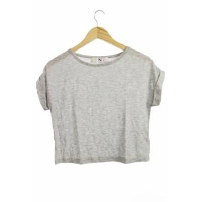 【中古】NATURAL BEAUTY BASIC N エヌ Tシャツ カットソー 半袖  ボートネック M グレー /MO30 レディース