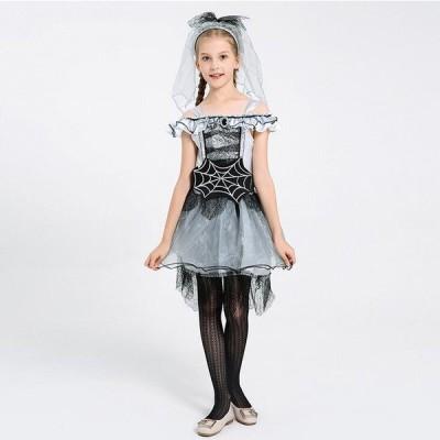 子供コスチューム ハロウィン衣装 女の子ワンピース ホラーコスプレ 吸血鬼 花嫁 ステージ衣装 舞台衣装 舞台劇 学園祭 文化祭 パーティー 3点セット