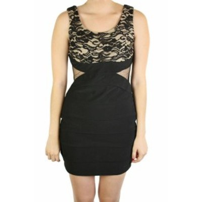 RUBY  ファッション ドレス Ruby Roz Black-Nude Juniors Sleeveless Lace-Top Bodycon Dress L