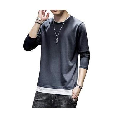 Tシャツ メンズ 無地 長袖 100%綿 カジュアル ファッション おおきいサイズ 秋服 丸襟 快適 レイヤード風 柔らかい 春秋冬灰色 2XL