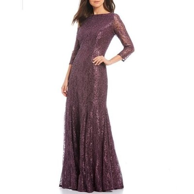 マリナ レディース ワンピース トップス Sequin Lace 3/4 Sleeve Boat Neck Mermaid Flounce Godet Gown