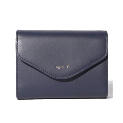 アニエスベー財布 二つ折り財布 新作新品 レザー VOYAGE ボヤージュ KW01−01 ウォレット レディース ネイビー 正規品