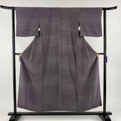 小紋 美品 優品 菱 小花 茶紫 袷 身丈154cm 裄丈62.5cm S 正絹 中古