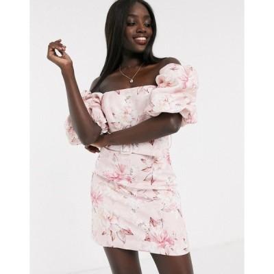 エバニュー レディース ワンピース トップス Ever New puff sleeve belted mini dress in pink floral Pink floral