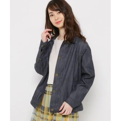 【スマートピンク】 コットン混ワークジャケット レディース ネイビー 40(M/ミセス) smart pink