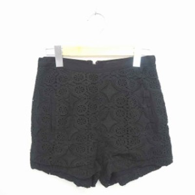 【中古】ファンクショナル FUNKTIONAL パンツ キュロット ショート 総柄 バックジップ 綿 コットン S 黒 ブラック