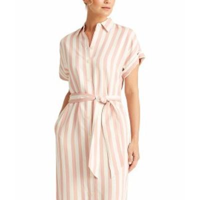 ラルフローレン レディース ワンピース トップス Striped Twill Shirtdress Pink/White