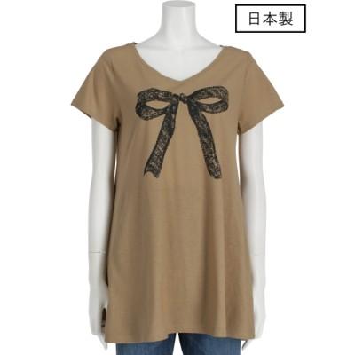 a.n.l (エー・エヌ・エル) レディース 【日本製】プリントTシャツ モカ M