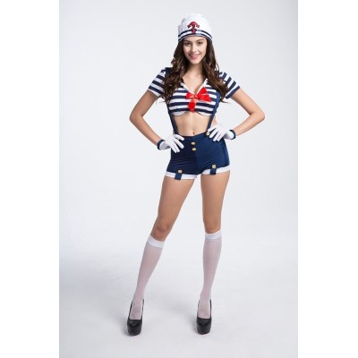 女性用 レデイース 水兵さん  船乗り セーラー キャプテン セクシーハロウィン 水兵さん ボーダー コスチューム  4点セット 帽子+トップス+サロベットパンツ+手袋 コスプレ cosplay