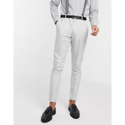 エイソス メンズ カジュアルパンツ ボトムス ASOS DESIGN wedding skinny suit pants in brushed twill in ice gray