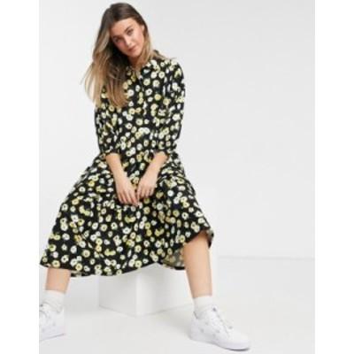エイソス レディース ワンピース トップス ASOS DESIGN midi shirt tiered smock dress with puff sleeves in black and yellow floral B
