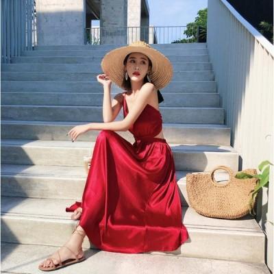ワインレッド ゴージャスサテン マキシロングドレス セレブ風 サマードレス ノースリーブ オープンバック クロスストラップ