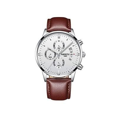 NIBOSI 腕時計 メンズ スポーツ クォーツ 防水 腕時計 ギフト 3目 6ピン ブラウン レザー ベルト 腕時計