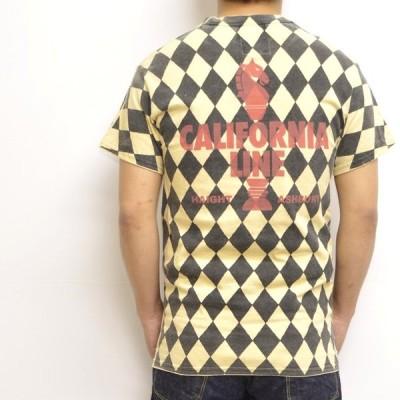 "CALIFORNIA LINE カリフォルニアライン 半袖Tシャツ アイボリー色 全6色 クルーネックTee ""チェッカー"""