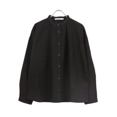【サンバレー】 綿麻スタンドギャザーシャツ レディース ブラウン M SUN VALLEY