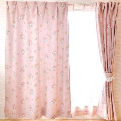 [Sanrio商品]サンリオ マイメロディ(ウォーターペイント) 3級 遮光カーテン と ミラーレース 4枚セット(マイメロ) (100cm, 135