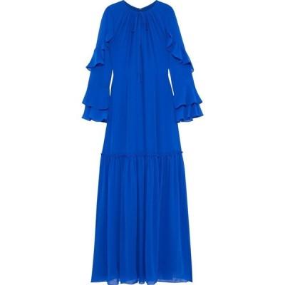 ミカエル アガール MIKAEL AGHAL レディース パーティードレス ワンピース・ドレス fluted ruffle-trimmed chiffon gown Royal blue