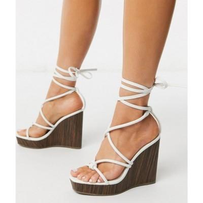 エイソス ASOS DESIGN レディース サンダル・ミュール スクエアトゥ ウェッジソール シューズ・靴 Talent square toe tie leg strappy wedge in white ホワイト