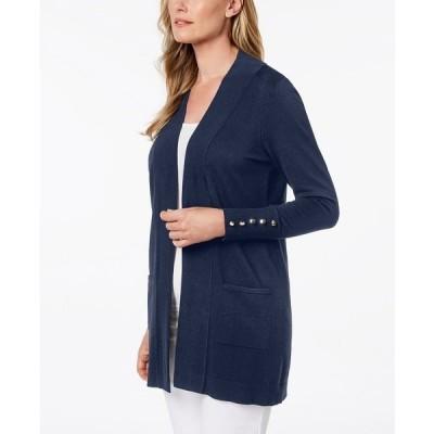 ジェイエムコレクション ニット&セーター アウター レディース Open-Front Cardigan, Created for Macy's Intrepid Blue