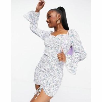 パリジャン Parisian レディース ボディコンドレス タイト ワンピース・ドレス tie front bodycon dress in floral print ホワイト/ブル