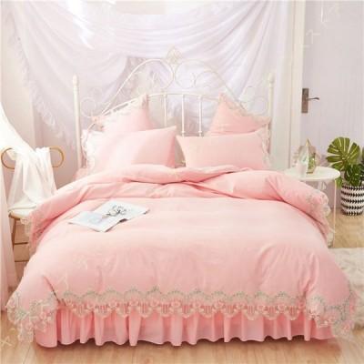 かわいい 姫系 布団カバー 4点セット ベッドスカート 掛ふとんカバー レースフリル付 プリンセス ベッドカバー 女の子 子ども 姫系 ピンク オールシーズン