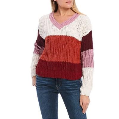 タカラ レディース パーカー・スウェット アウター Long Sleeve Color Block Striped Sweater