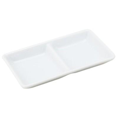 薬味皿 和食器 / 白露 浅口二つ仕切 寸法: 12.6 x 6.5 x H1.8cm 100g
