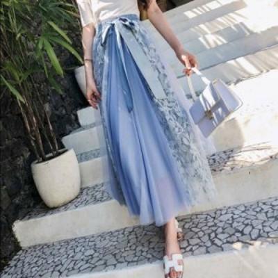 レース&チュール ミックススカート フレア 異素材ミックス 2色 ウエストリボン 大人可愛い シフォン ロング 花柄レース エレガント