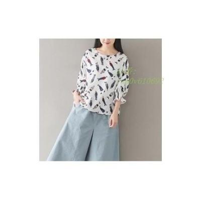 レディース森ガール シャツ 長袖花柄 大人かわいい 春秋用 ゆったりシャツ トップス