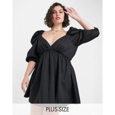インザスタイル ドレス 大きいサイズ レディース In The Style Plus x Lorna Luxe mini smock dress with exaggerated sleeves in black エイソス ASOS ブラック