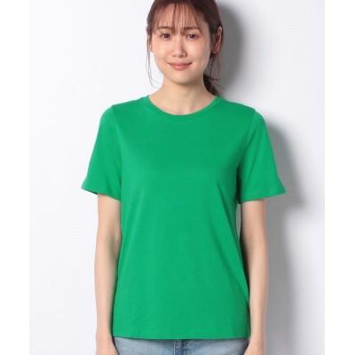 (BENETTON (women)/ベネトン レディース)モダールクルーネック裾ロゴ刺繍Tシャツ・カットソー/レディース グリーン
