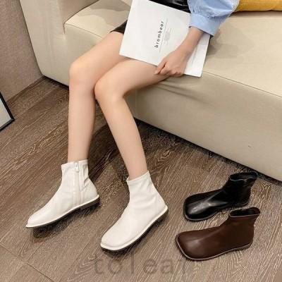 ショートブーツレディースぺたんこシューズ靴フラットシンプル無地黒白茶色レザーアンクルブーツぺたんこ靴ローヒール個性的おしゃれかわいい