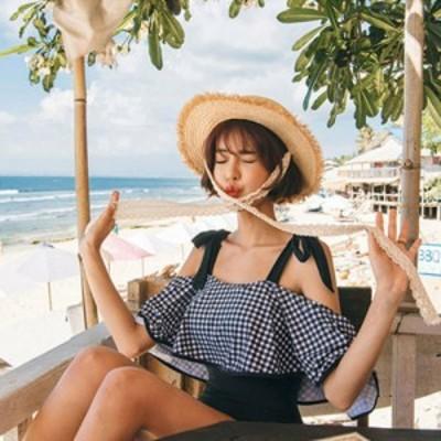 レディース 水着 ワンピース ギンガムチェック 肩リボン フレア オフショル モノトーン 大人かわいい リゾート プール 女子旅