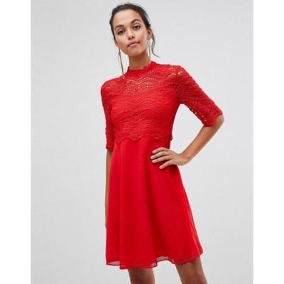 リクオリッシュ レディース ワンピース トップス Liquorish a-line dress with lace overlay top