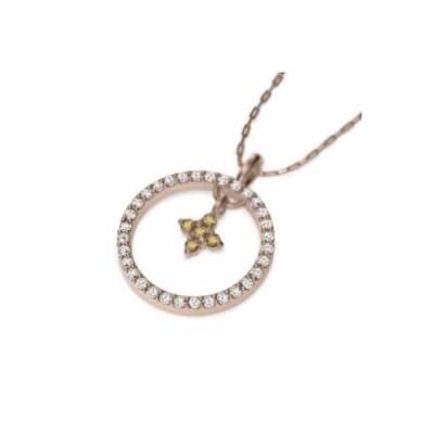 10金ピンクゴールド クロス デザイン ペンダント ネックレス (黄水晶)シトリン