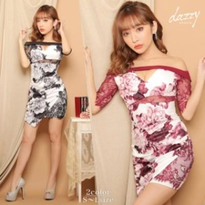 キャバ ドレス フラワー プリント オフショル シアー タイト ミニ ドレス   ドレス キャバ キャバドレス 大きいサイズ ドレス ワンピース