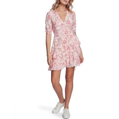 ワンステート レディース ワンピース トップス Floral Print Ruffled Wrap Front Short Sleeve V-Neck Dress
