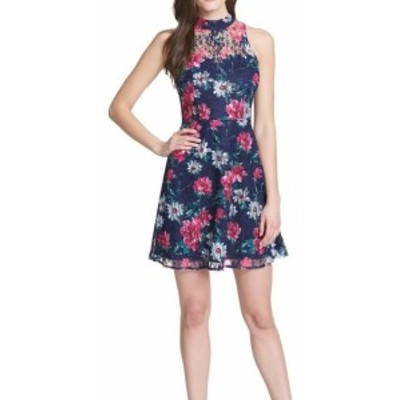 kensie ケンジー ファッション ドレス Kensie NEW Blue Multi Womens Size 12 Mock-Neck Floral Lace Sheath Dress