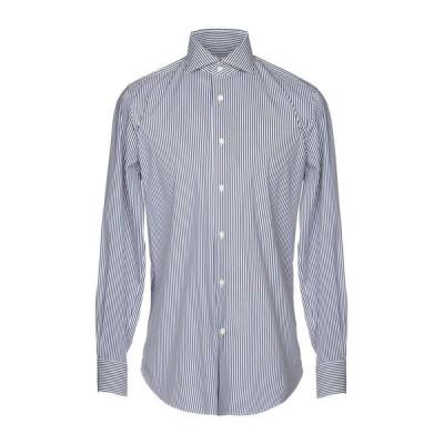 BORSA per PERLIN ストライプ柄シャツ ファッション  メンズファッション  トップス  シャツ、カジュアルシャツ  長袖 ダークブルー