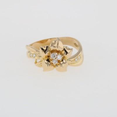 メレダイヤ デザインリング K18 イエローゴールド 指輪 花 フラワー リング 14.5号 YG ダイヤモンド レディース 中古