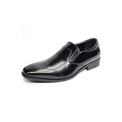 [KIXSTAR] ビジネスシューズ メンズ ローカットメンズシューズ 紳士靴 ローファー スリッポン (ブラック,26.5cm)